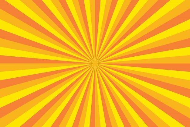 Fundo colorido brilhante com linhas radiais para ilustração retrô no estilo pop art Vetor Premium