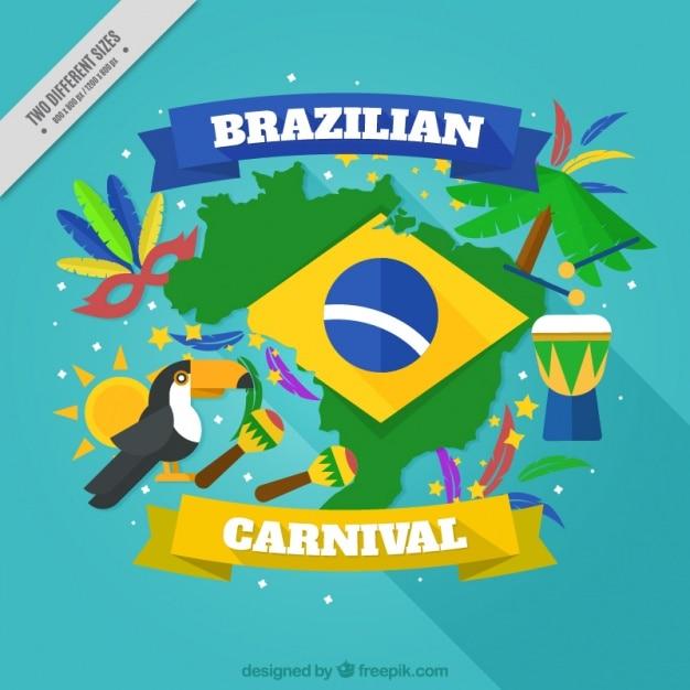 Fundo colorido, com elementos de carnaval brasileiro Vetor grátis