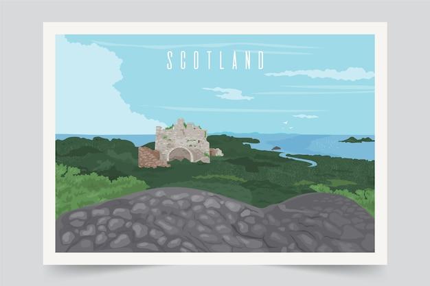Fundo colorido da paisagem da escócia Vetor grátis