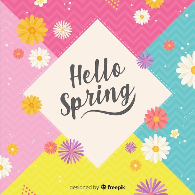 Fundo colorido da primavera olá Vetor grátis