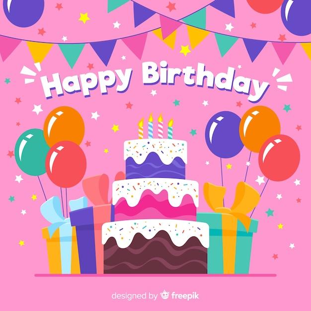 Fundo colorido de aniversário com presentes e bolo Vetor grátis