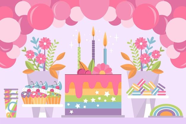 Fundo colorido de aniversário Vetor grátis