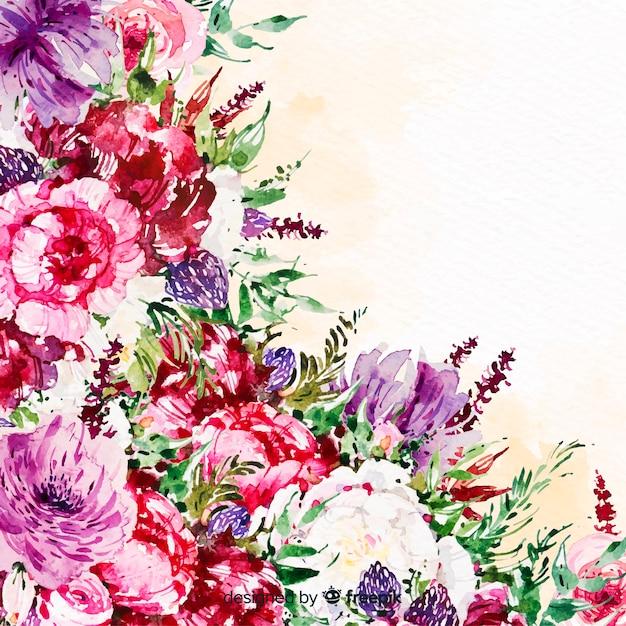 Fundo colorido de aquarela lindas flores Vetor grátis