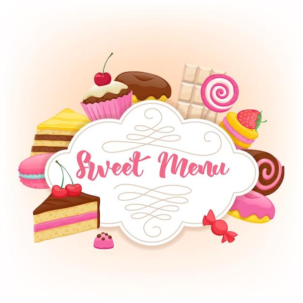 Fundo colorido de doces sortidos Vetor Premium