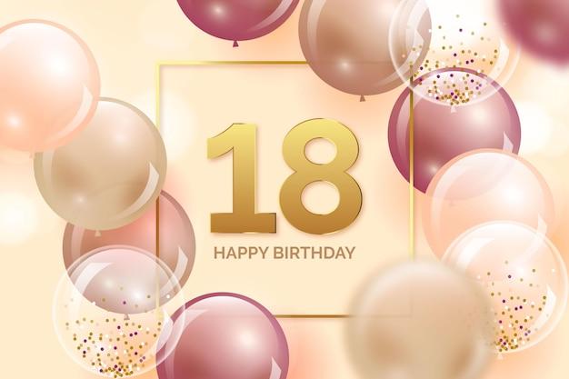 Fundo colorido de feliz aniversário com balões realistas Vetor grátis