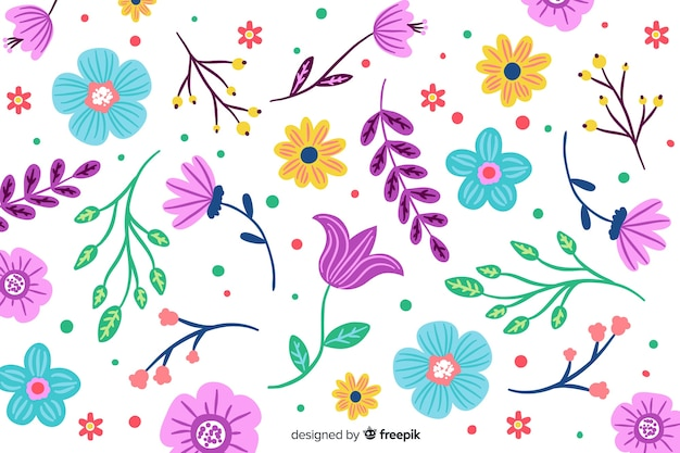 Fundo colorido de flores pintadas Vetor grátis