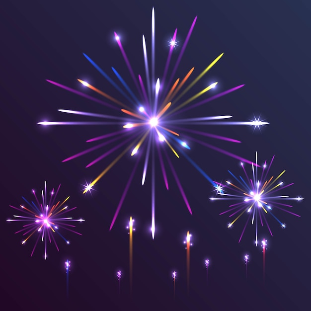 Fundo colorido de fogos de artifício Vetor Premium