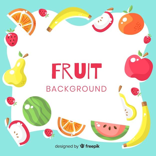 Fundo colorido de frutas Vetor grátis