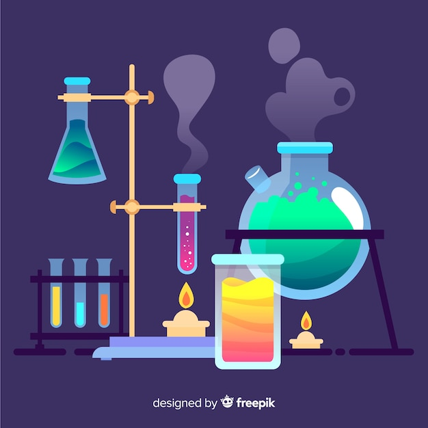 Fundo colorido de química plana Vetor grátis