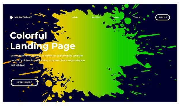 Fundo colorido de respingo para página inicial Vetor Premium