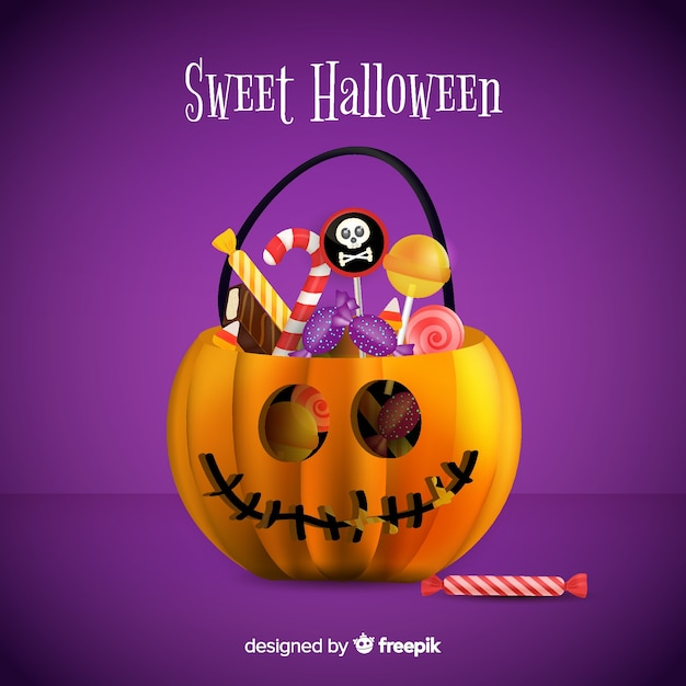 Fundo colorido de saco de doces de abóbora de halloween Vetor grátis