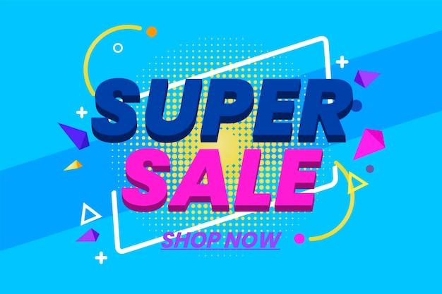 Fundo colorido de vendas 3d Vetor grátis