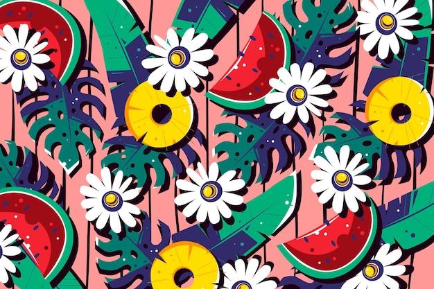 Fundo colorido de verão para zoom Vetor grátis