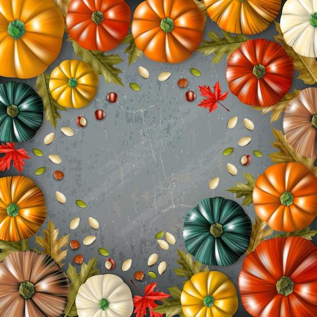 Fundo colorido do dia de ação de graças com diferentes abóboras de cores e tamanhos combinados em ilustração vetorial de quadro Vetor grátis