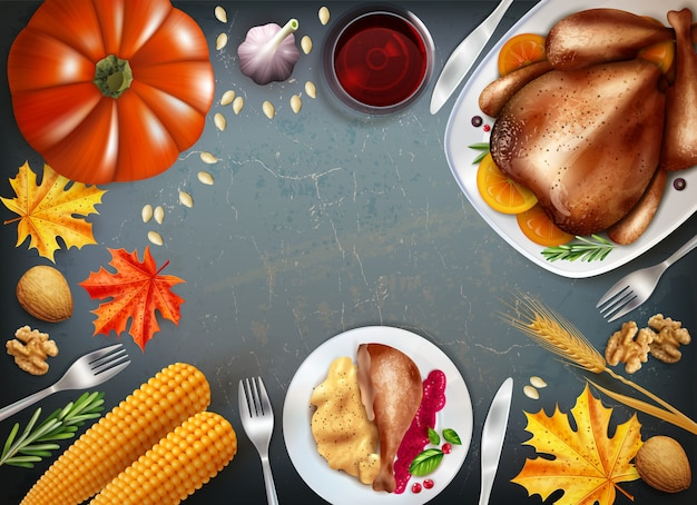 Fundo colorido do dia de ação de graças com pratos sobre as bebidas de mesa festiva turquia e outros lanches vector a ilustração Vetor grátis
