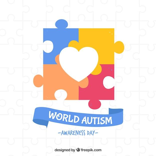 Fundo colorido do dia mundial do autismo Vetor Premium