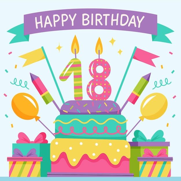 Fundo colorido feliz aniversário de 18 anos Vetor Premium