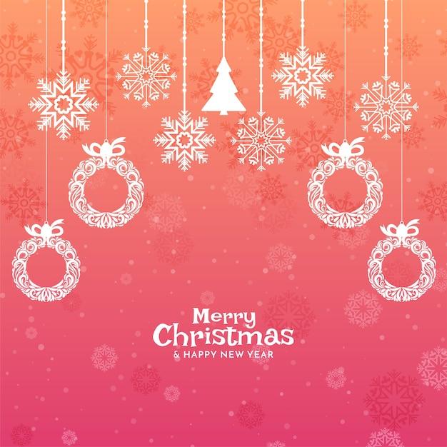 Fundo colorido festival de feliz natal com elementos decorativos Vetor grátis