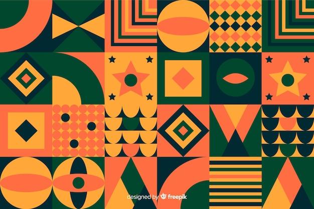 Fundo colorido mosaico com formas geométricas Vetor grátis