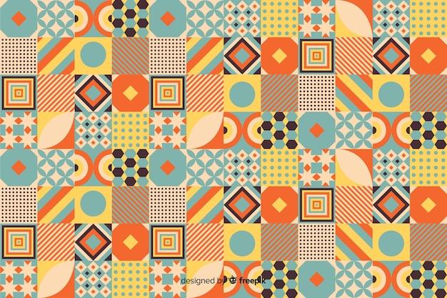 Fundo colorido mosaico geométrico vintage Vetor grátis