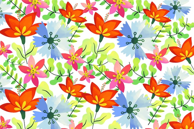 Fundo colorido natural de flores e folhas tropicais Vetor grátis
