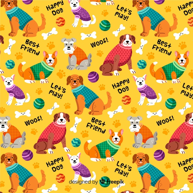 Fundo colorido padrão de cães Vetor grátis
