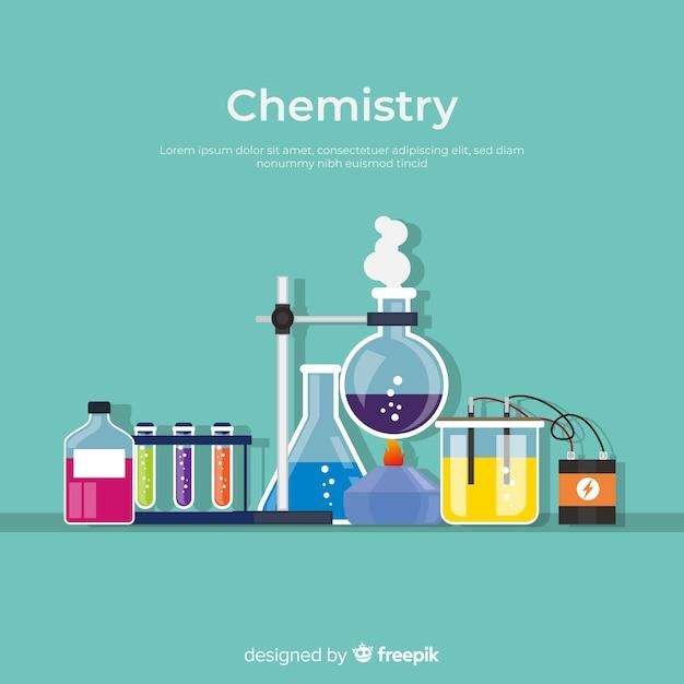Fundo colorido plano de química Vetor grátis