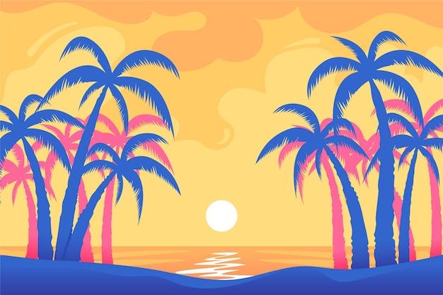Fundo colorido silhuetas de árvore de palma Vetor Premium