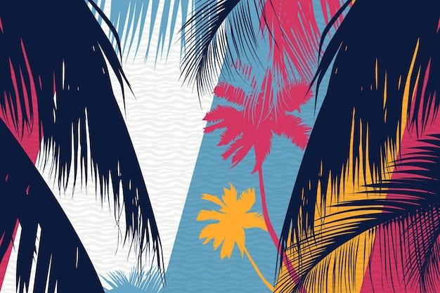 Fundo colorido silhuetas de palmeiras Vetor grátis