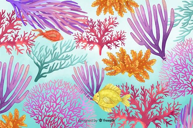 Fundo colorido subaquático de aquarela em aquarela Vetor grátis