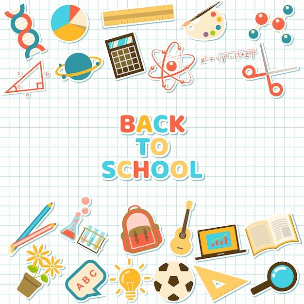 Fundo com adesivos coloridos de elemento de curso e escola Vetor Premium