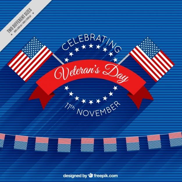 Fundo com bandeiras americanas para comemorar o dia de veteranos Vetor grátis