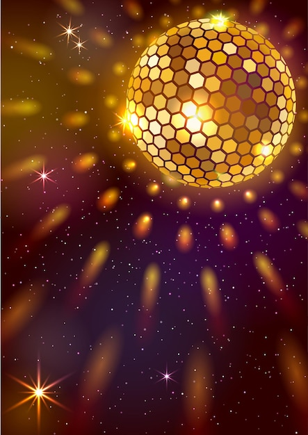 Fundo com bola dourada e luzes Vetor Premium