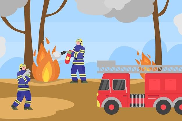 Fundo com bombeiros tentando apagar incêndios na floresta, desenho plano. banner de desastre de incêndio florestal com equipe de resgate do corpo de bombeiros. Vetor Premium