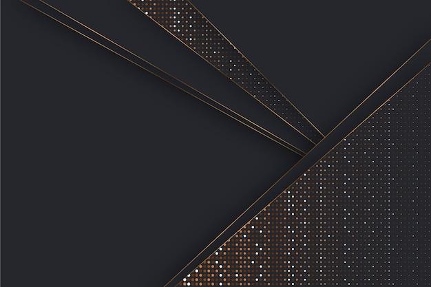 Fundo com camadas de papel escuro e detalhes dourados Vetor grátis