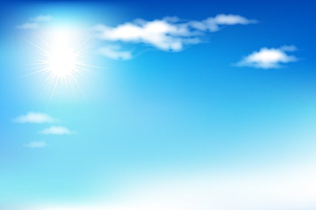 Fundo com céu azul e nuvens Vetor Premium