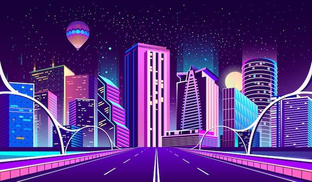 Fundo com cidade da noite em luzes de néon Vetor grátis