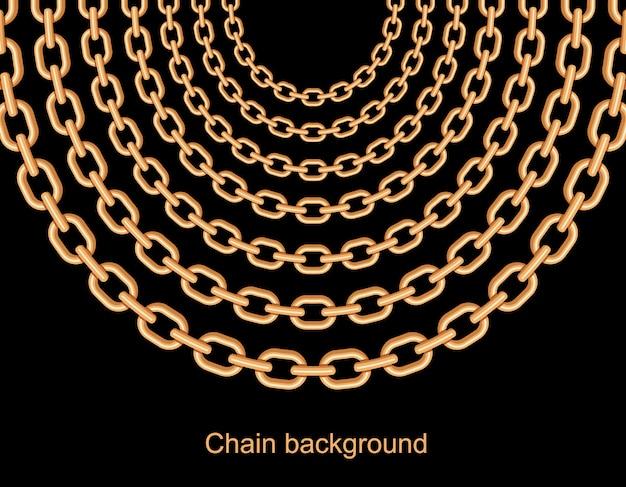 Fundo com colar metálico de correntes de ouro. Vetor Premium