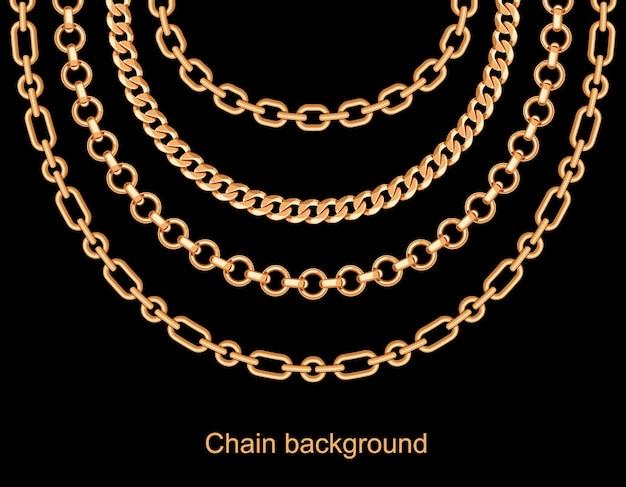 Fundo com colar metálico dourado de correntes Vetor Premium
