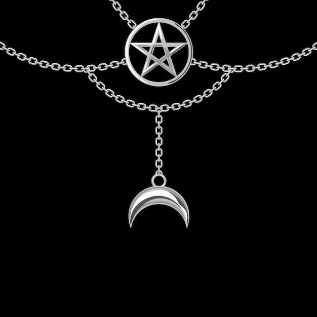 Fundo com colar metálico prateado. pingente e correntes pentagrama. no preto. ilustração vetorial Vetor Premium