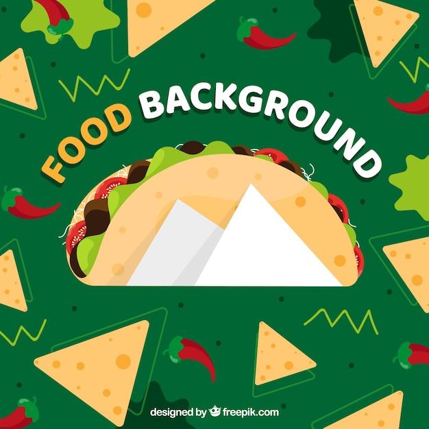 Fundo com comida mexicana Vetor grátis