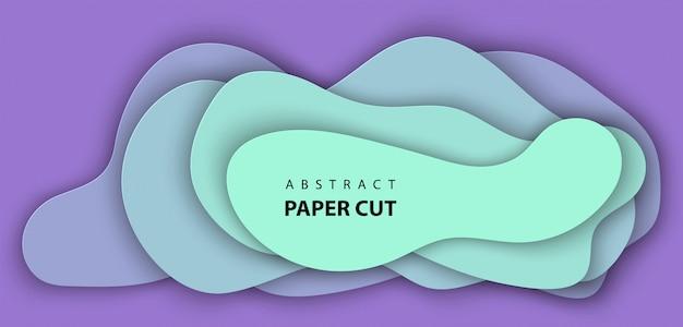 Fundo com corte de papel neon lilás e turquesa Vetor Premium
