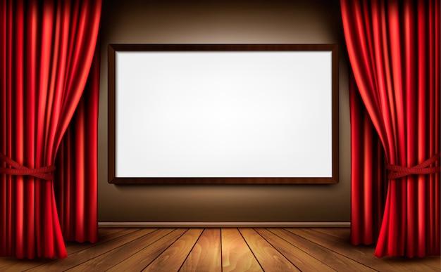 Fundo com cortina de veludo vermelho e piso de madeira. Vetor Premium