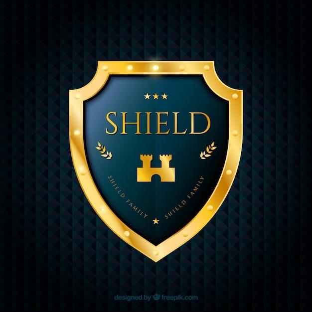 Fundo com elegante escudo dourado Vetor grátis