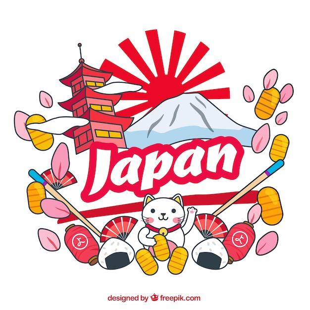 Fundo com elementos japoneses Vetor grátis