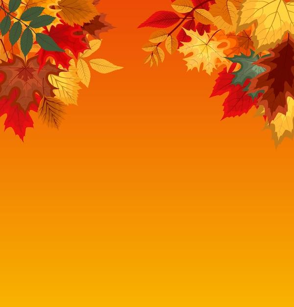 Fundo com folhas de outono caindo Vetor Premium