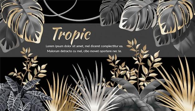 Fundo com folhas escuras de plantas tropicais. Vetor Premium