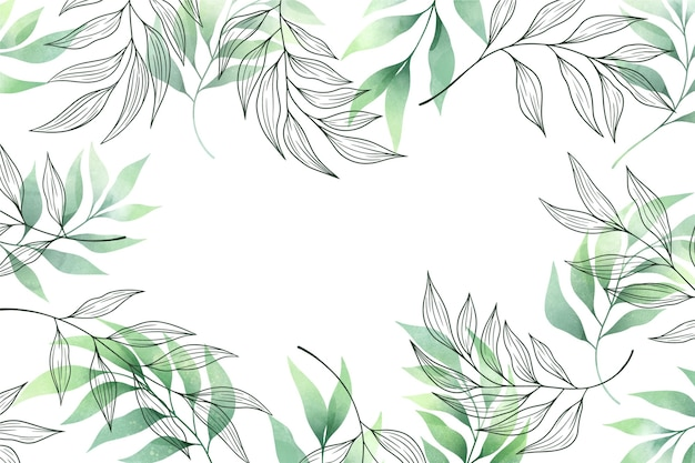 Fundo com folhas verdes cópia espaço Vetor grátis