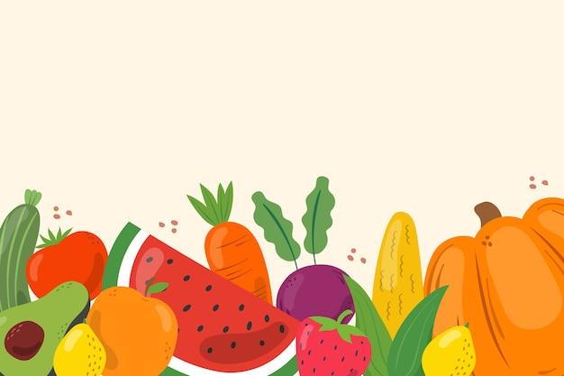 Fundo com frutas e legumes Vetor grátis