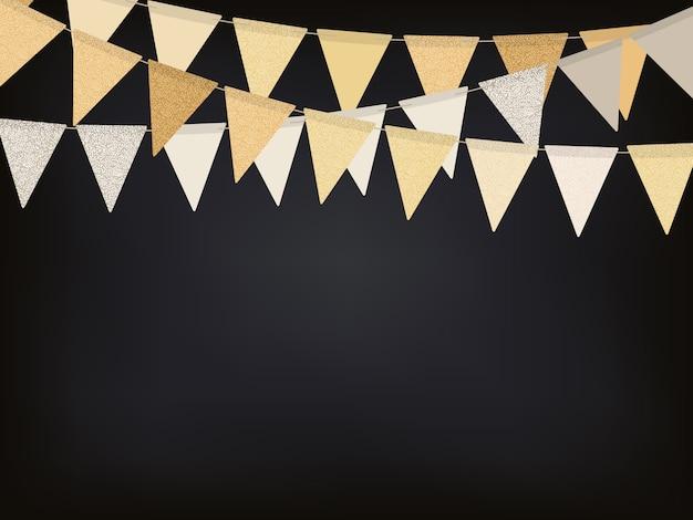 Fundo com guirlandas de bandeira dourada Vetor Premium